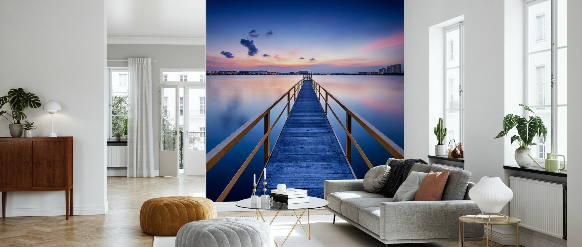 Rosy Sunset Pier - Wallpaper - Living Room