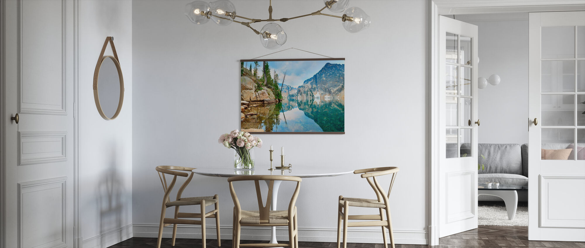 Mountain Lake with Mirror Reflection - Poster - Kitchen