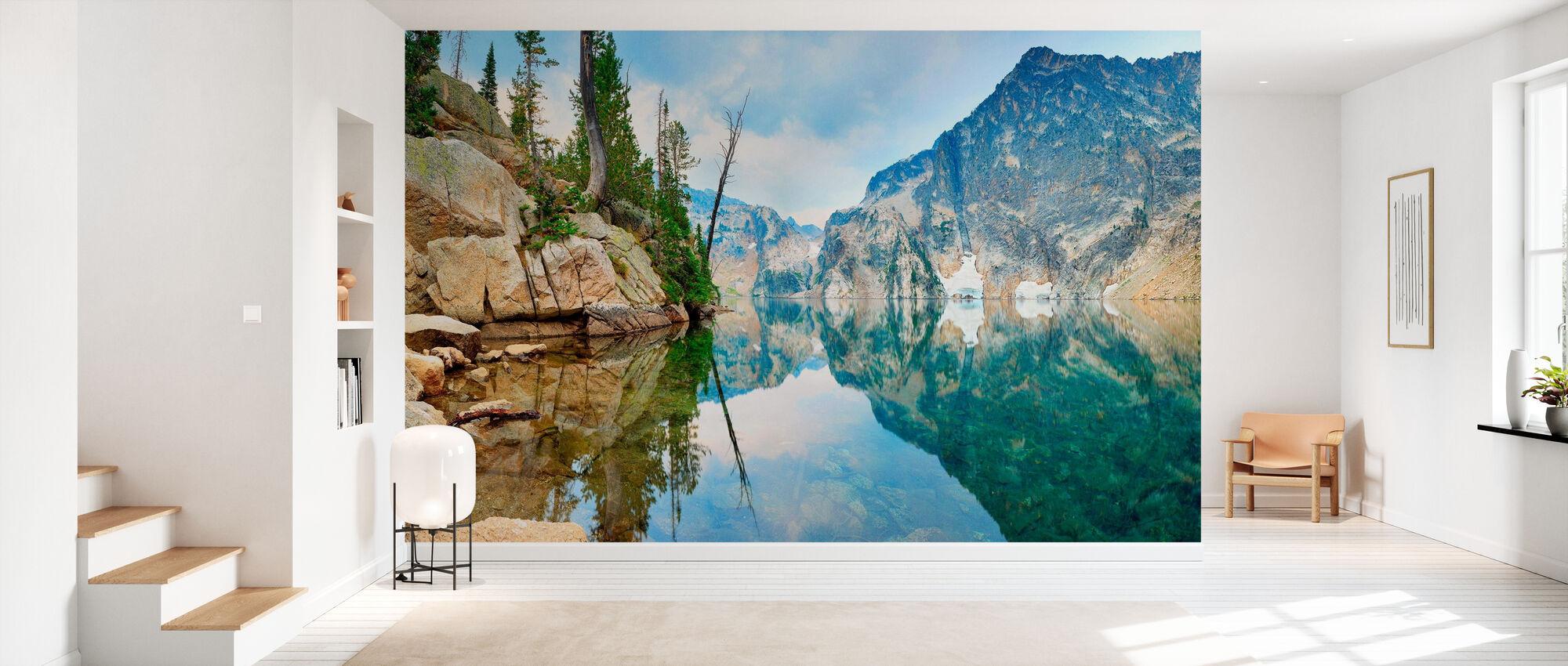 Mountain Lake with Mirror Reflection - Wallpaper - Hallway