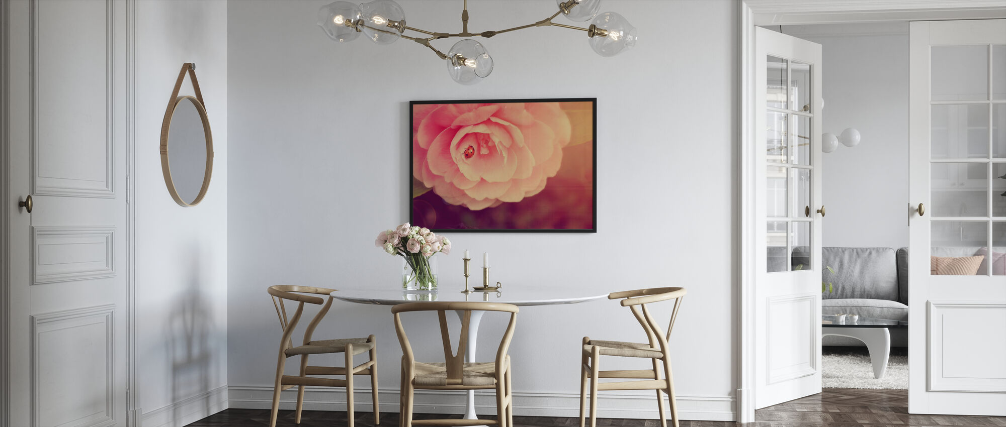 Ladybird on Camellia - Framed print - Kitchen