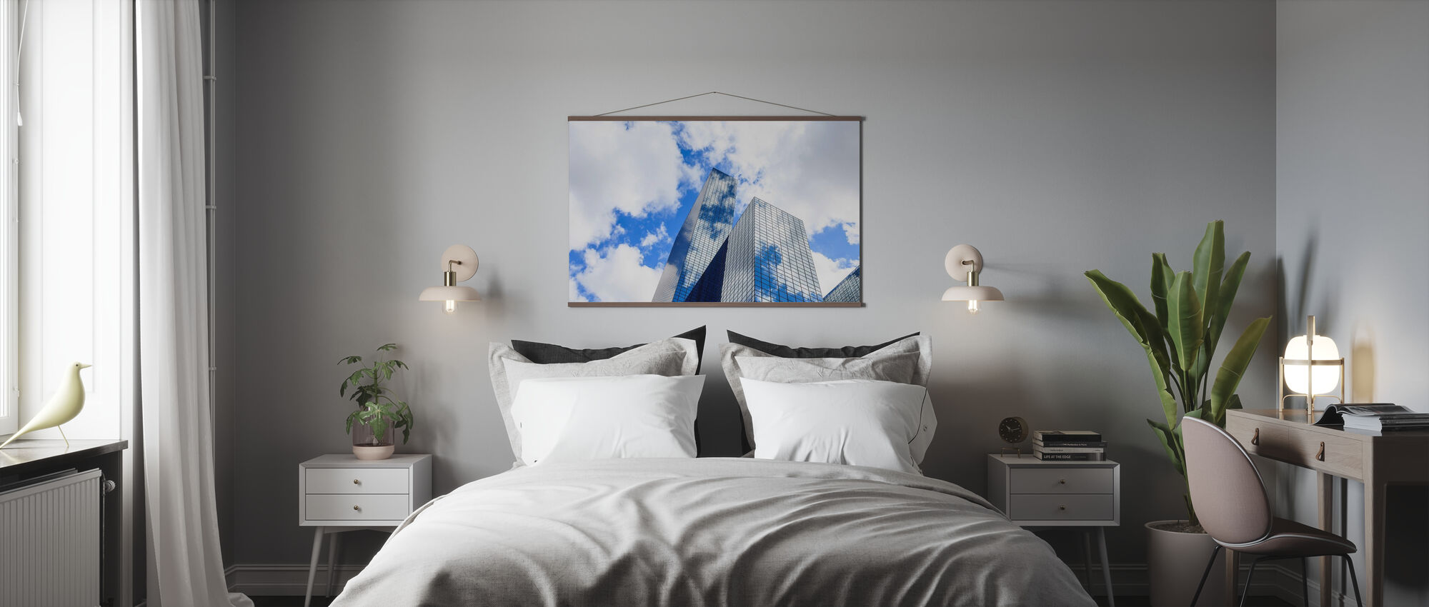 Clouds Reflected in a Modern Glass Facade - Poster - Bedroom
