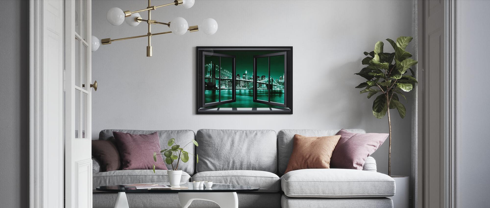 Brooklyn Bridge genom fönster - Grön - Poster - Vardagsrum