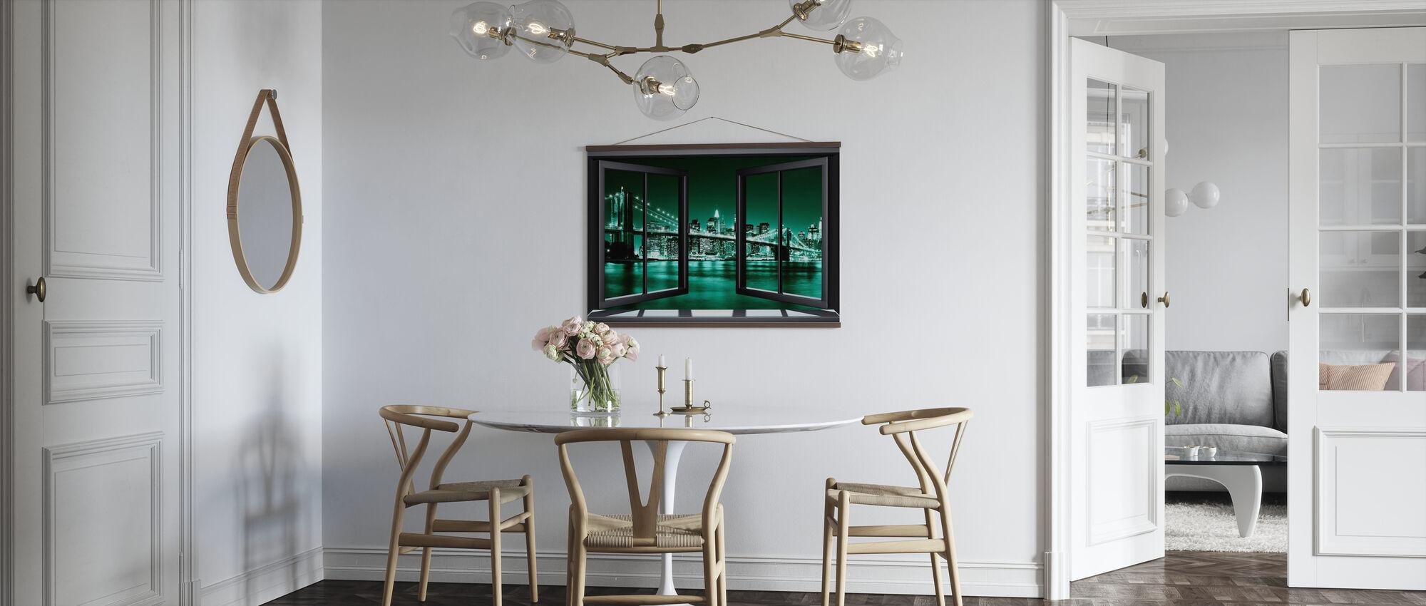 Brooklyn Bridge durch Fenster - Grün - Poster - Küchen