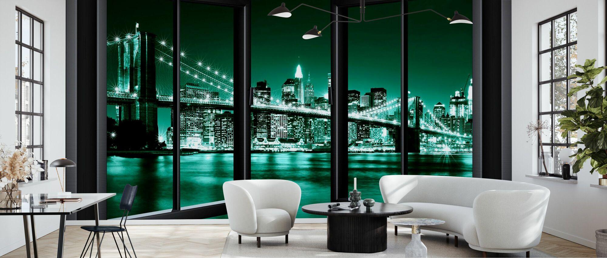 Brooklyn Bridge gjennom vinduet - grønn - Tapet - Stue