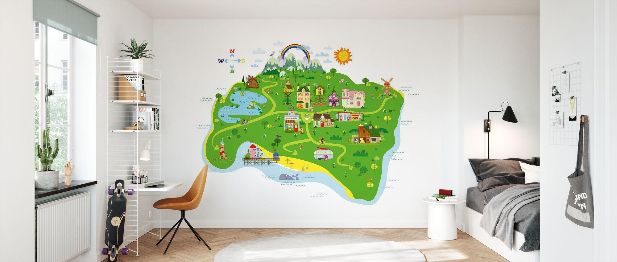Marsh Mellow Island Kaart - Behang - Kinderkamer