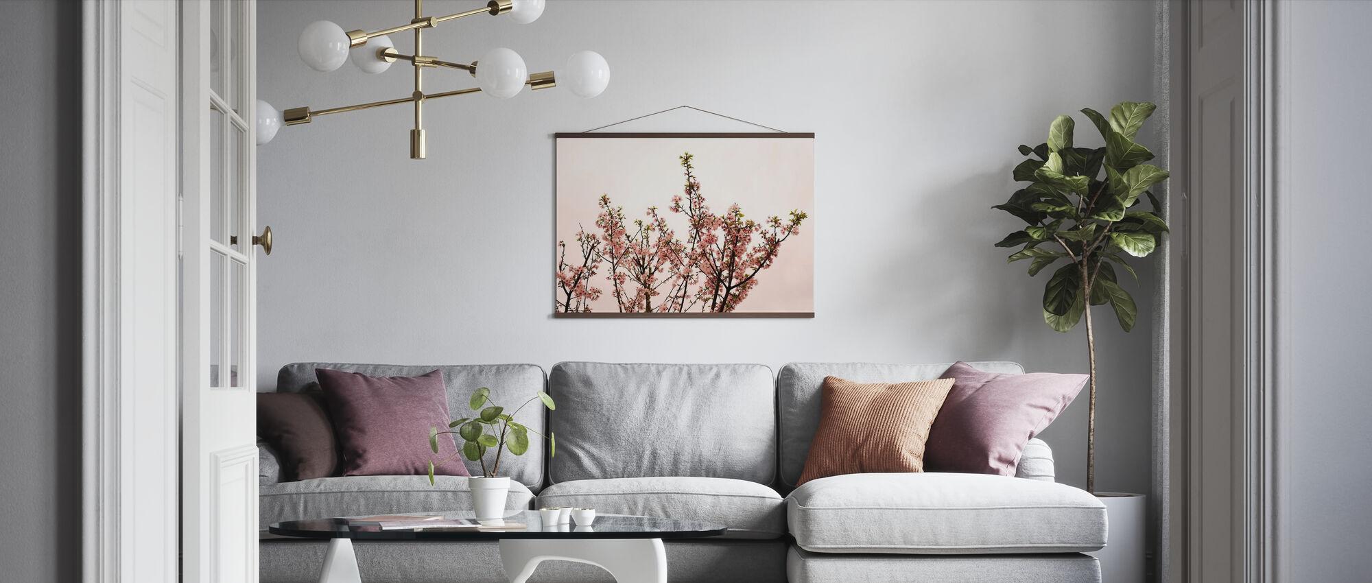 Sakura Blossom against Pink Sky - Poster - Living Room