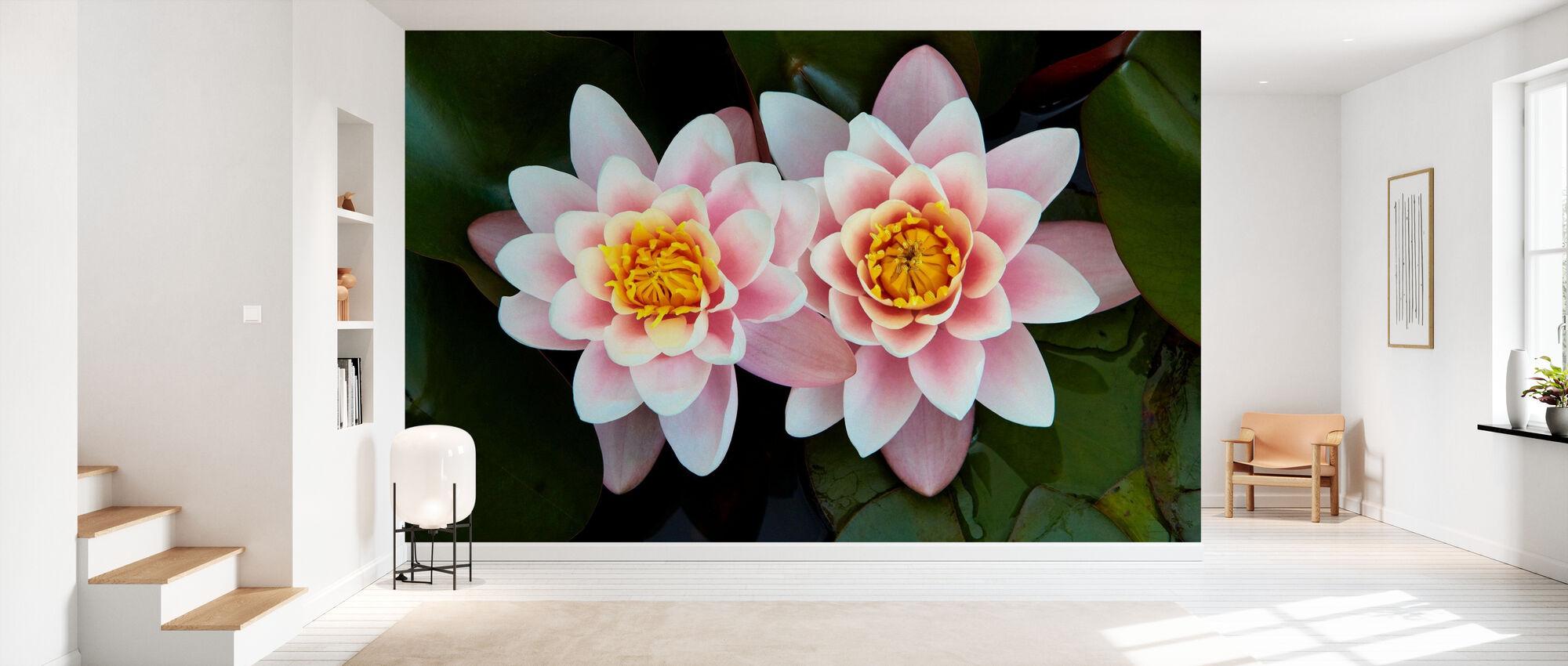 Pair of Water Lilies - Wallpaper - Hallway
