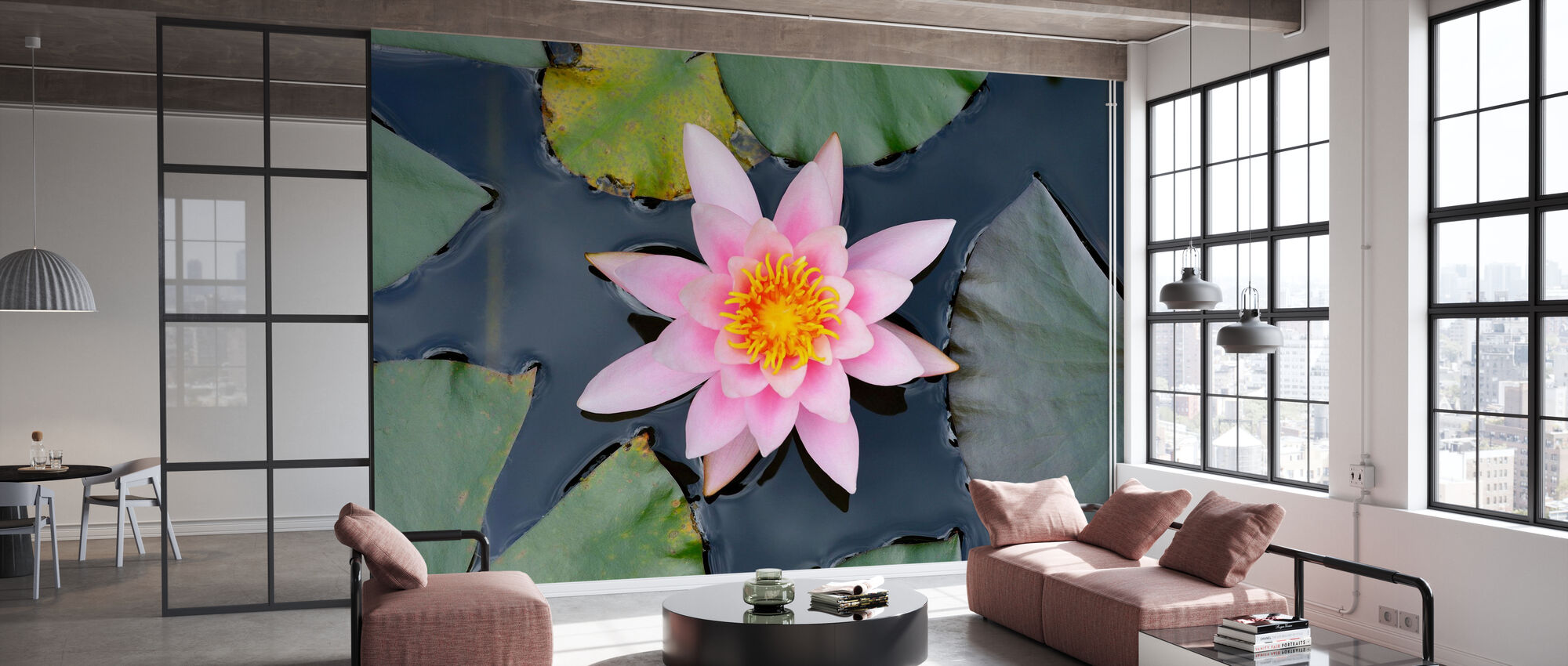 Pink Water Lily from Above - Wallpaper - Office