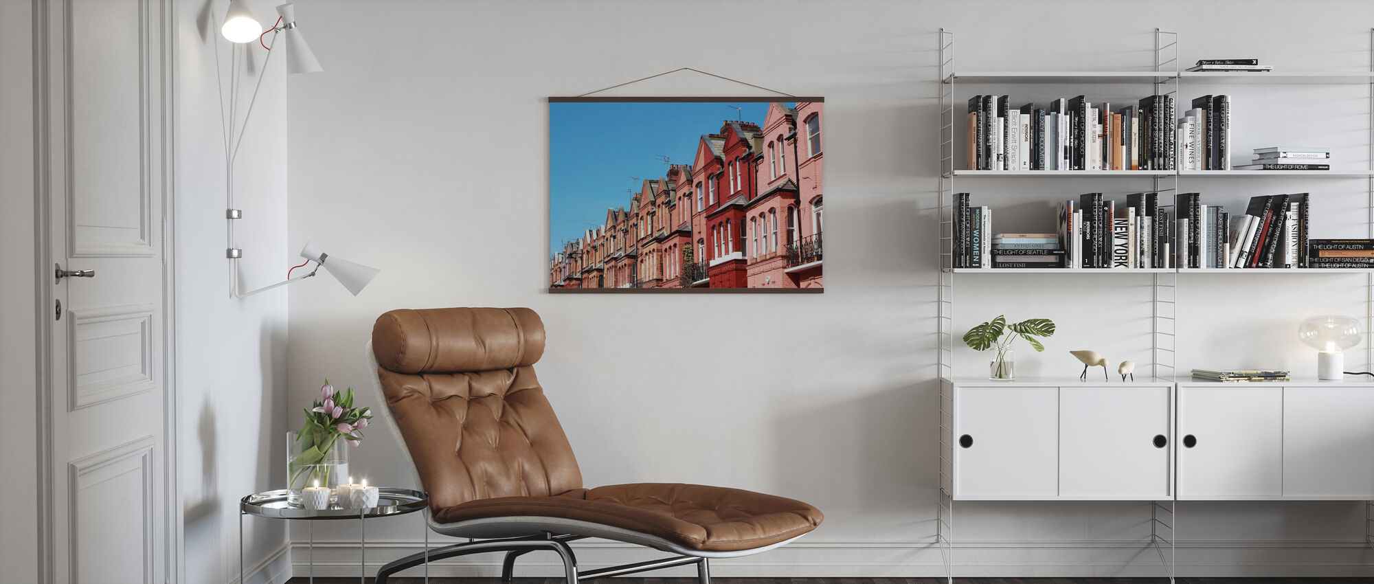 Coral Colored Houses in London - Poster - Living Room