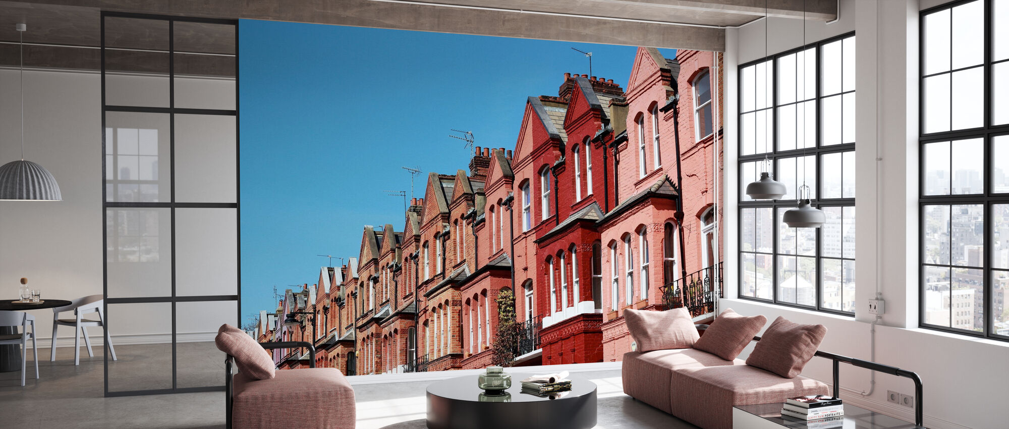 Coral Colored Houses in London - Wallpaper - Office