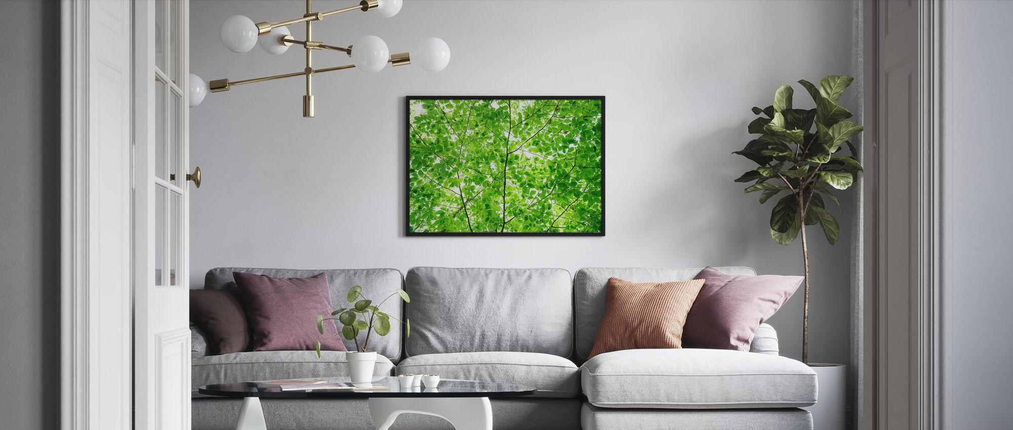 Wall of Fresh Leaves - Framed print - Living Room