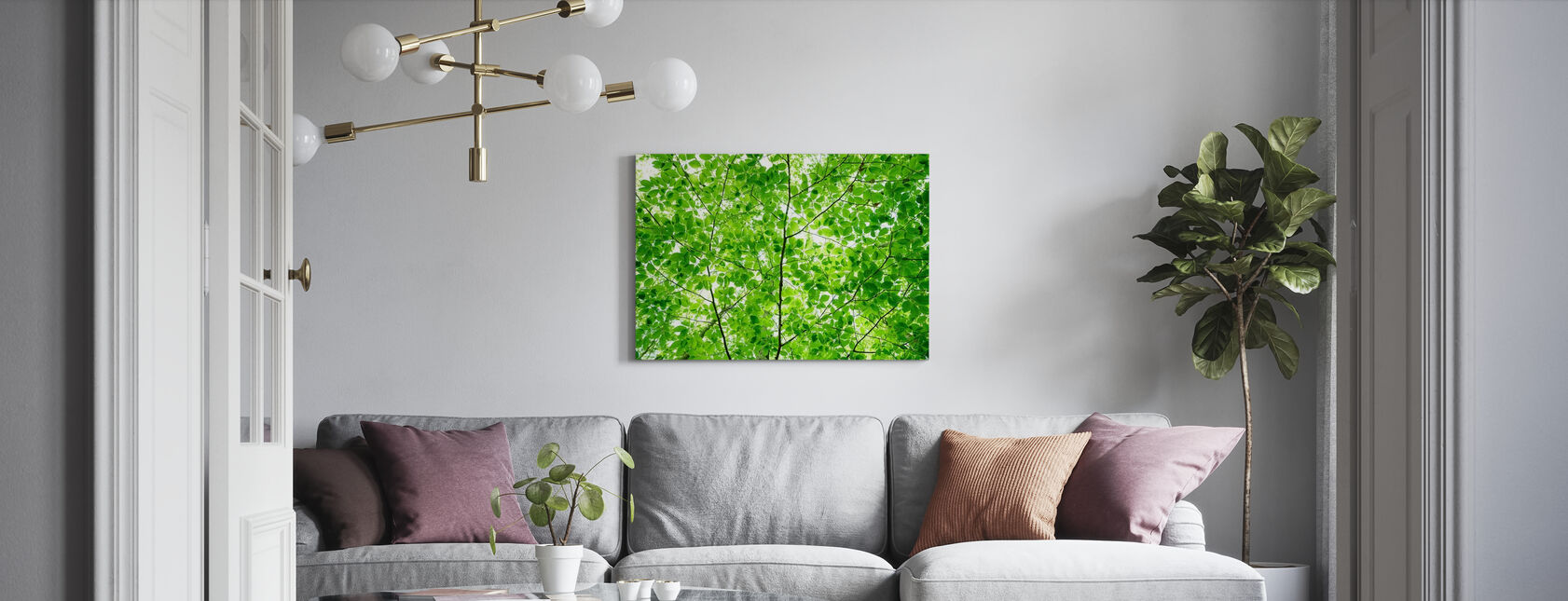 Wall of Fresh Leaves - Canvas print - Living Room
