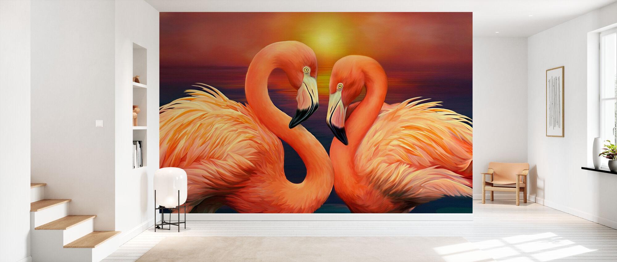 Flamingos in Love - Wallpaper - Hallway