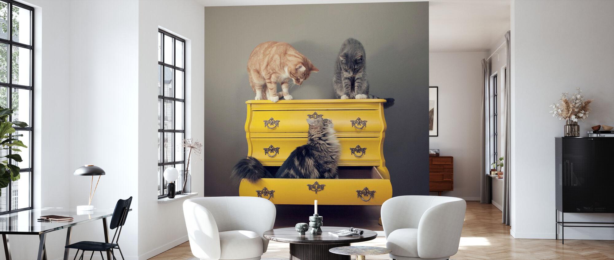 Meeting in a Yellow Bureau - Wallpaper - Living Room