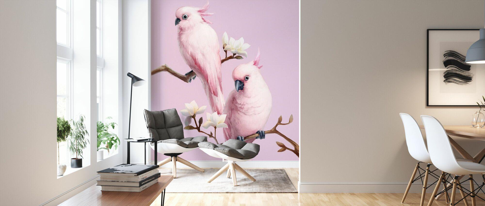 Roze vogels zittende op Magnolia - Behang - Woonkamer