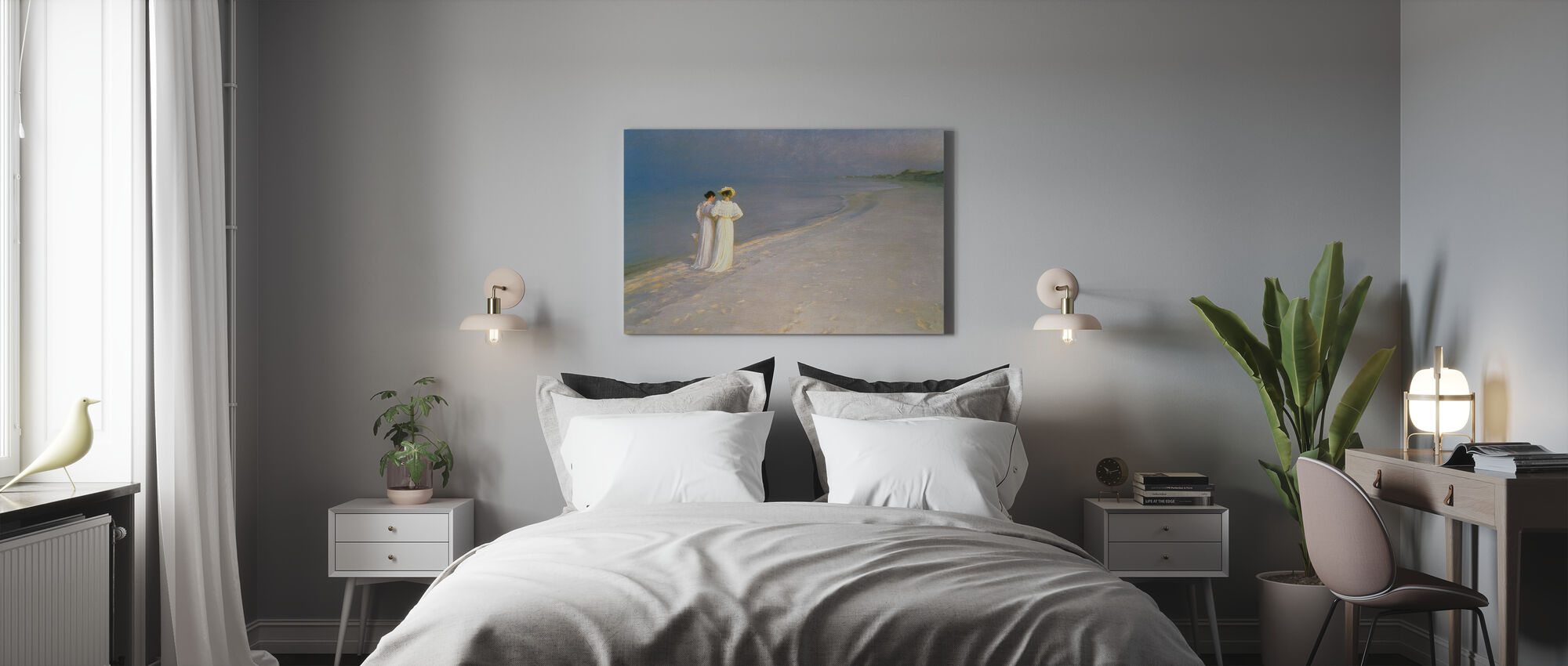 Summer Evening on the Skagen Southern Beach with Anna Ancher and Marie Kroyer - Peder Severin Kroyer - Canvas print - Bedroom