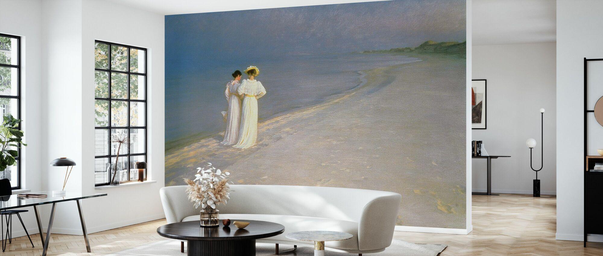 Soirée d'été sur la plage sud de Skagen avec Anna Ancher et Marie Kroyer - Peder Severin Kroyer - Papier peint - Salle à manger