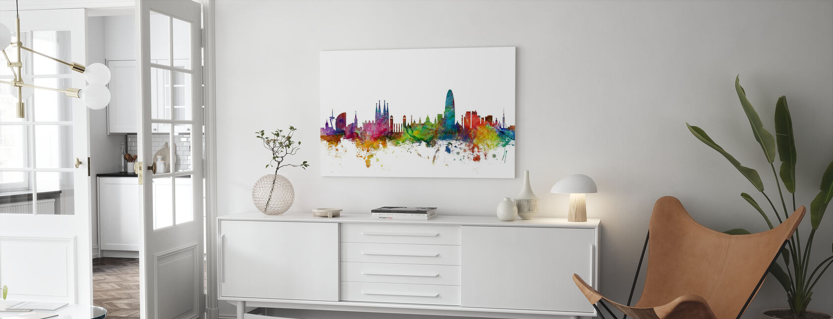 Barcelona Skyline - Canvas print - Living Room
