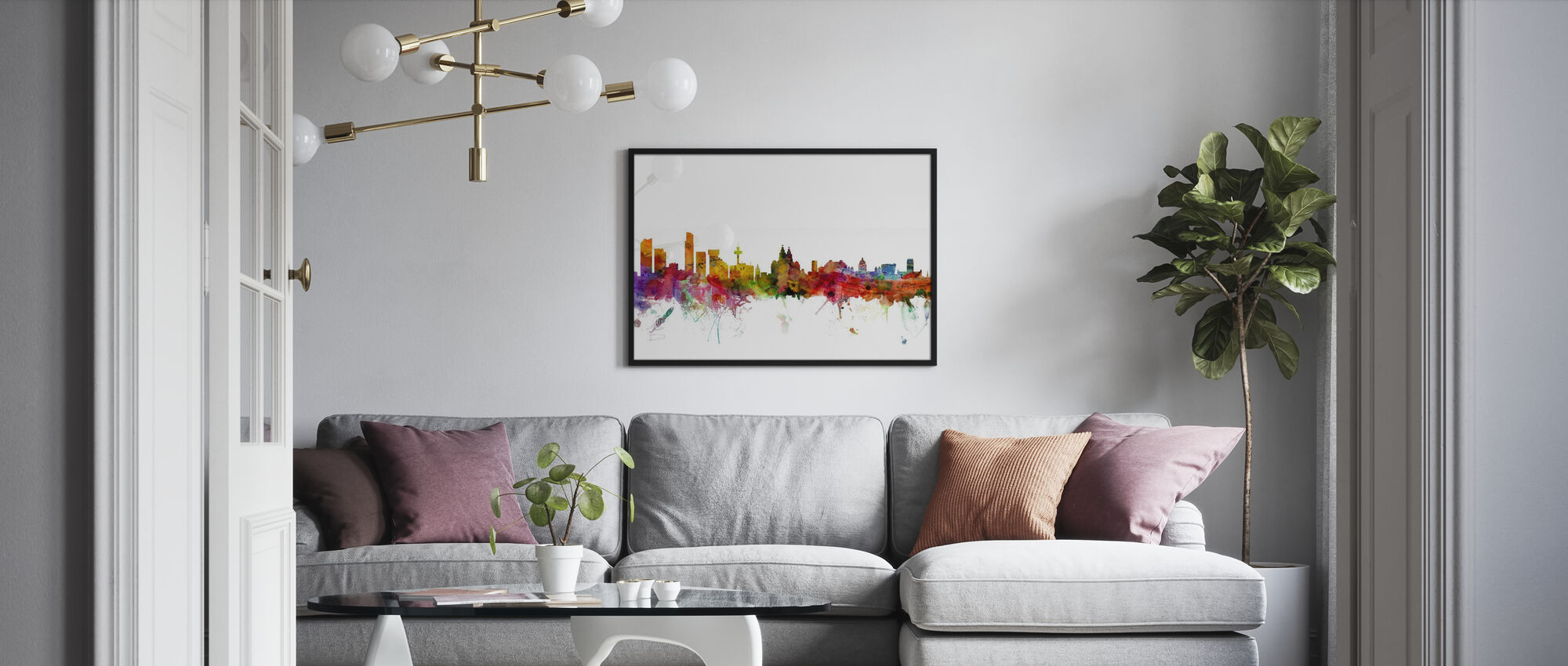Liverpool Skyline - Framed print - Living Room