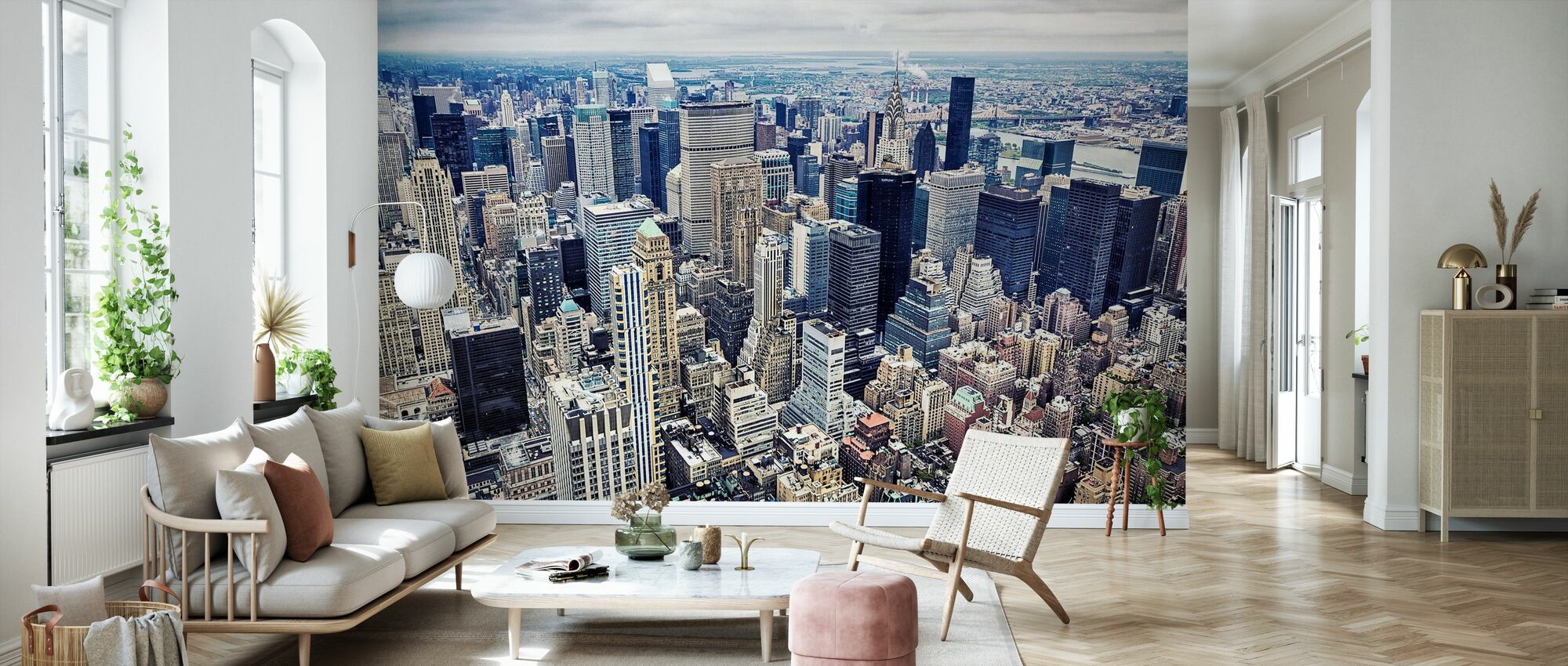 Flygfoto över Manhattan - Tapet - Vardagsrum