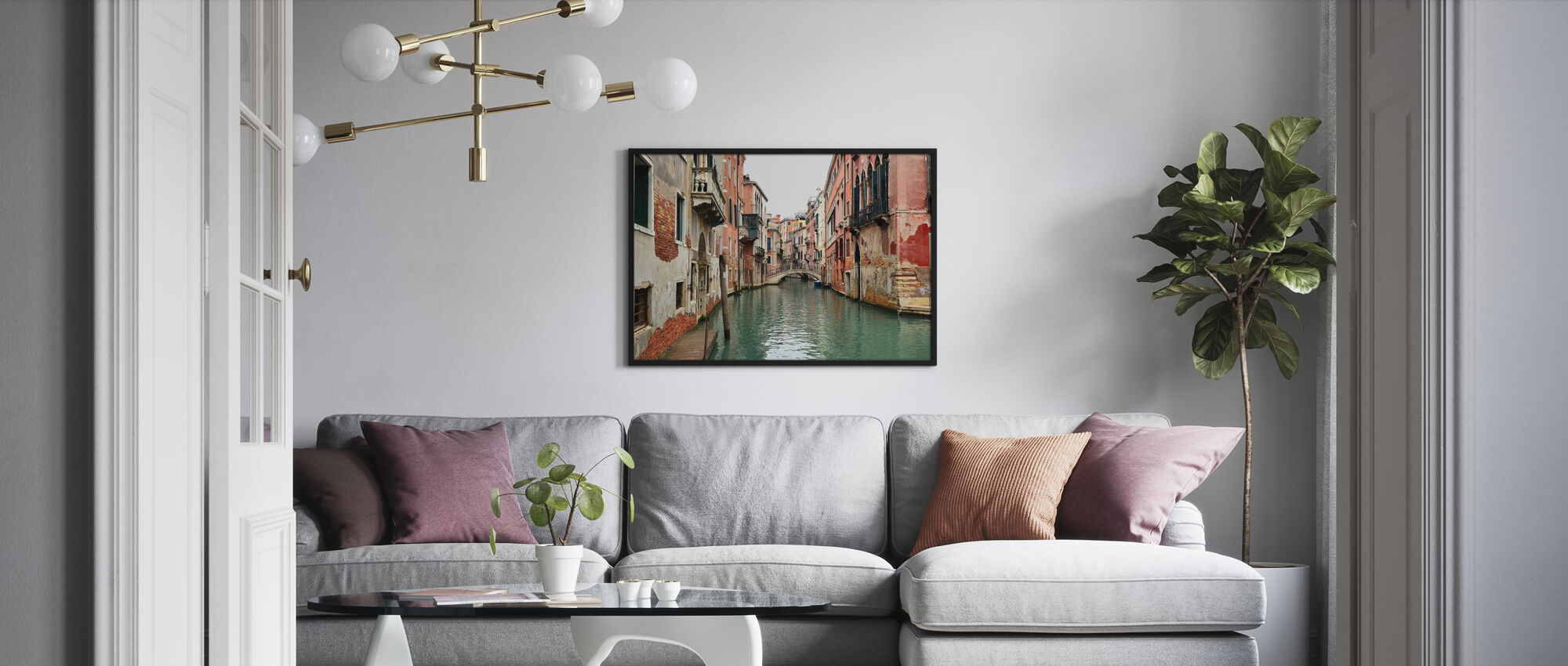 Bricks and Water Alleys in Venice - Poster - Living Room