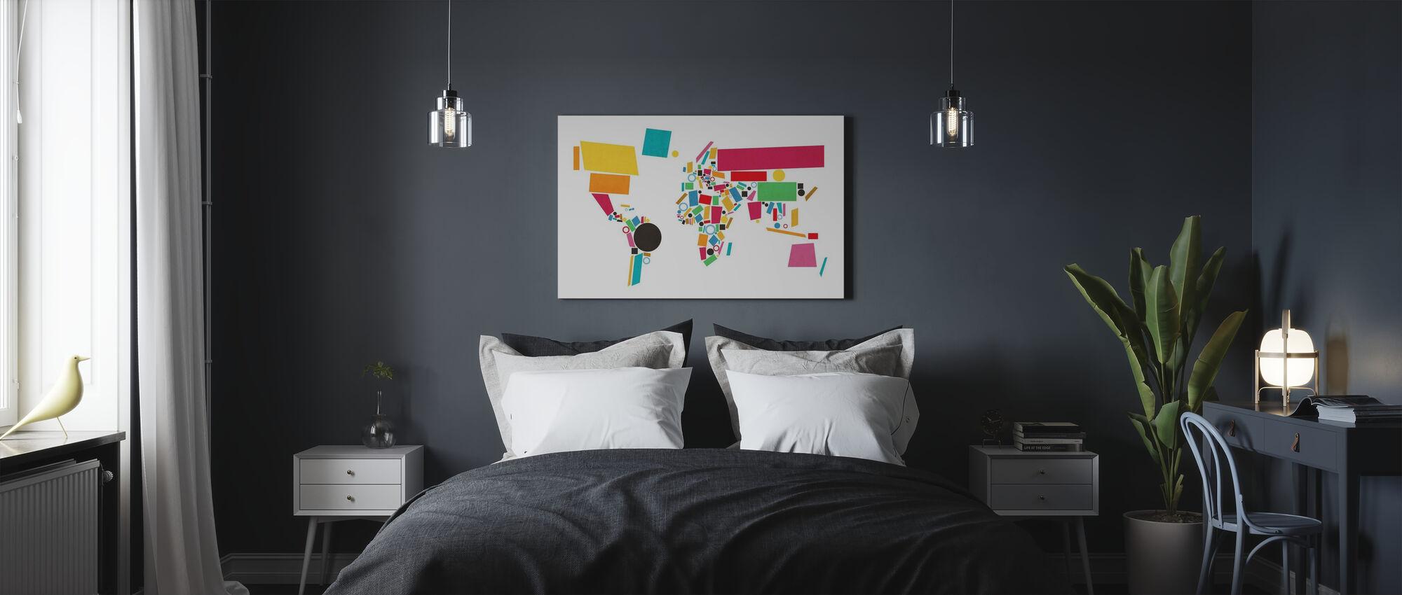 Abstract Wereld Kaart Vierkanten 2 - Canvas print - Slaapkamer