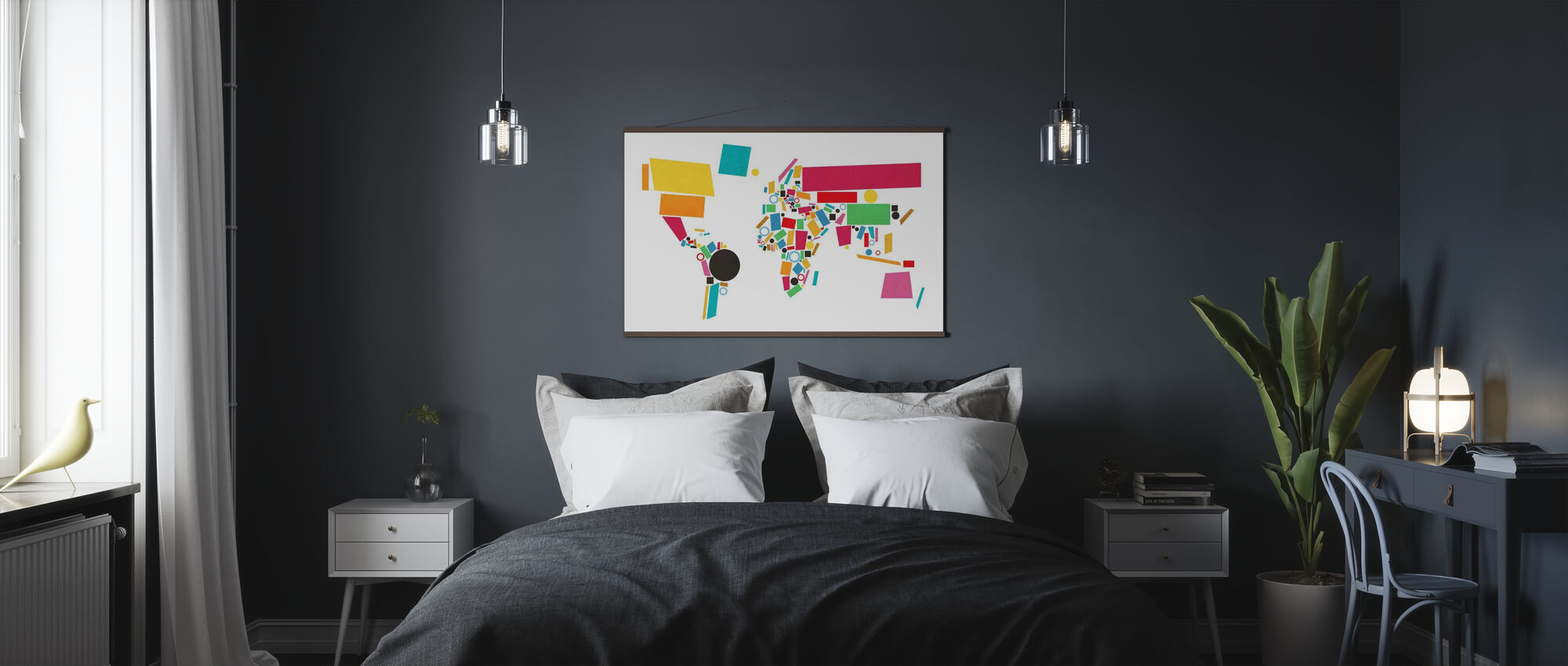 Abstract World Map Squares 2 - Poster - Bedroom