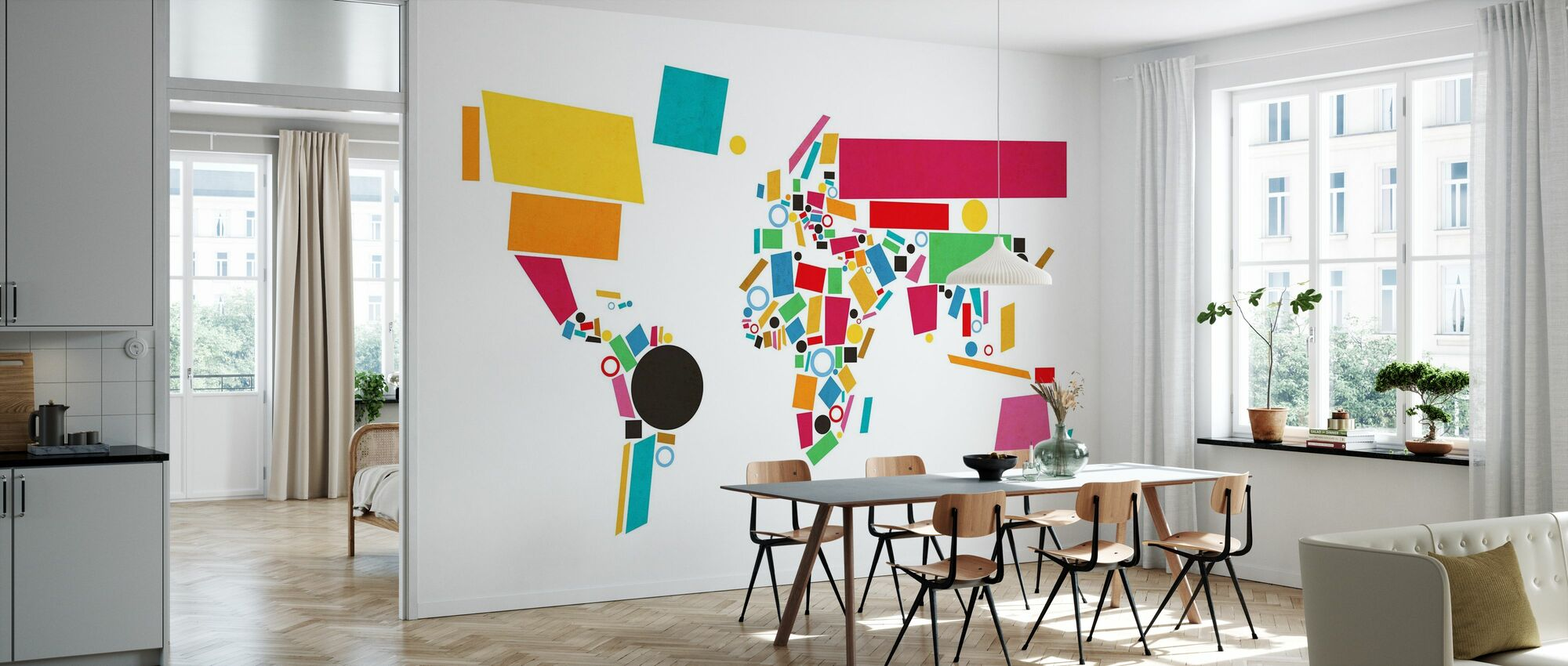 Abstrakte Weltkarte Squares 2 - Tapete - Küchen