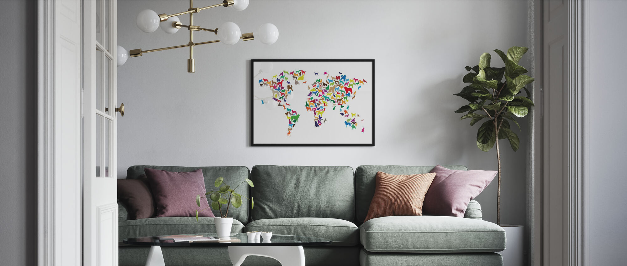 Dogs World Map Multicolor - Poster - Living Room