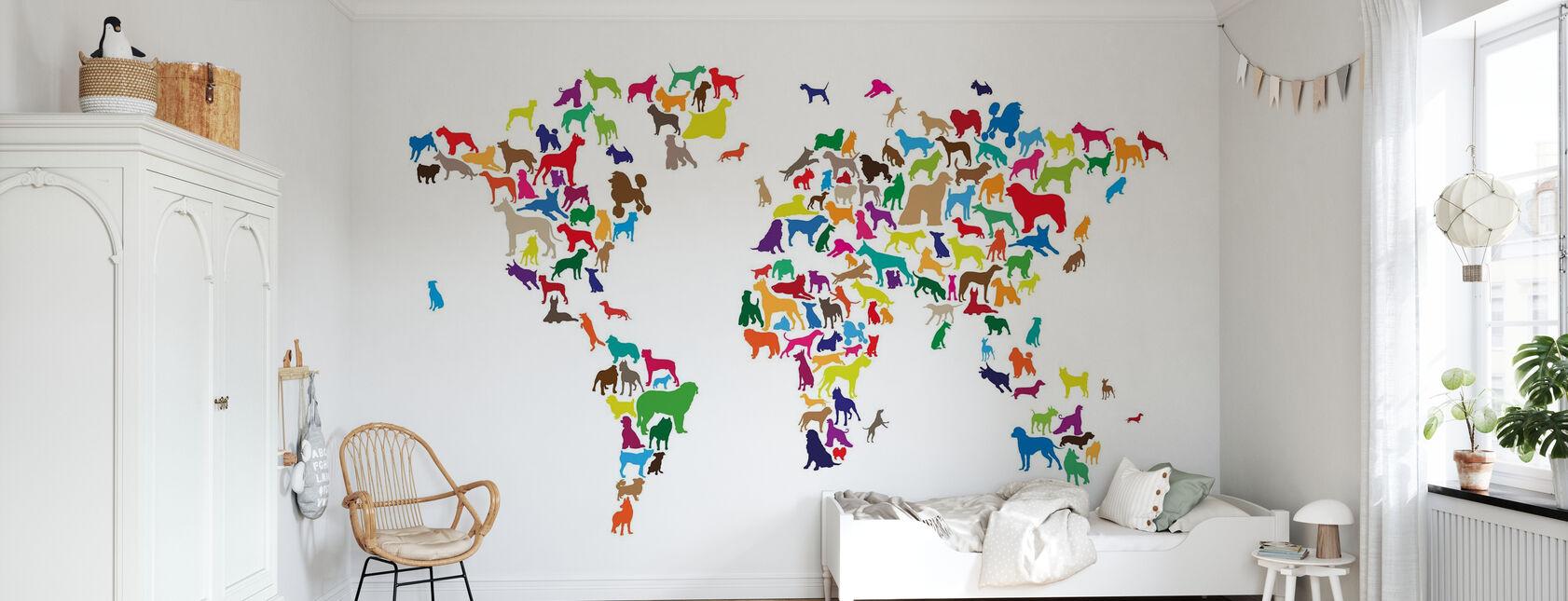 Koirat maailmankartta Monivärinen - Tapetti - Lastenhuone