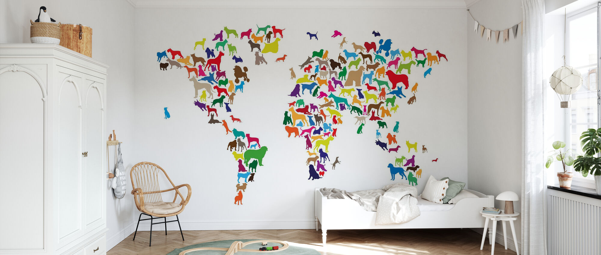 Dogs World Map Multicolor - Wallpaper - Kids Room