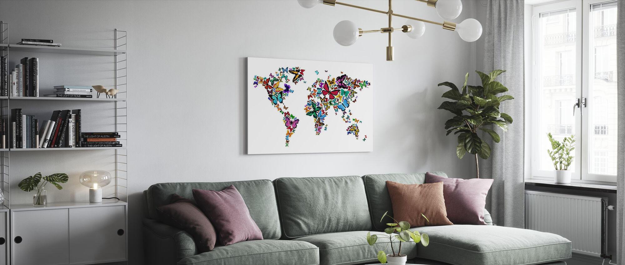 Large Butterflies World Map - Canvas print - Living Room