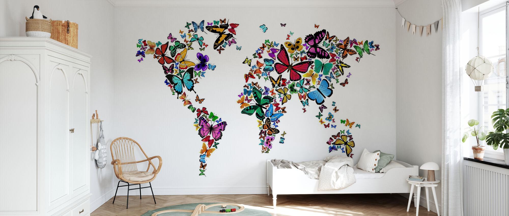 Large Butterflies World Map - Wallpaper - Kids Room