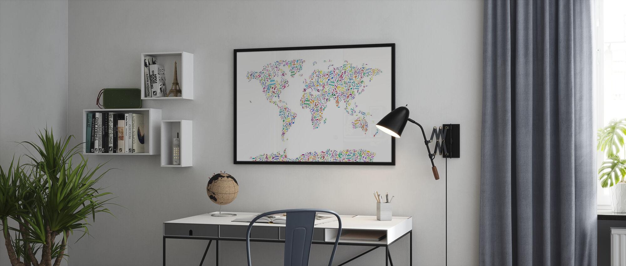 Muziek Notes Wereld Kaart Kleur - Ingelijste print - Kantoor