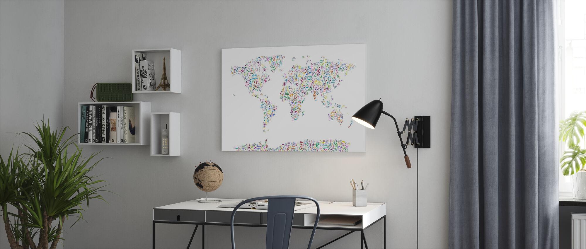 Music Notes Weltkarte Farbe - Leinwandbild - Büro