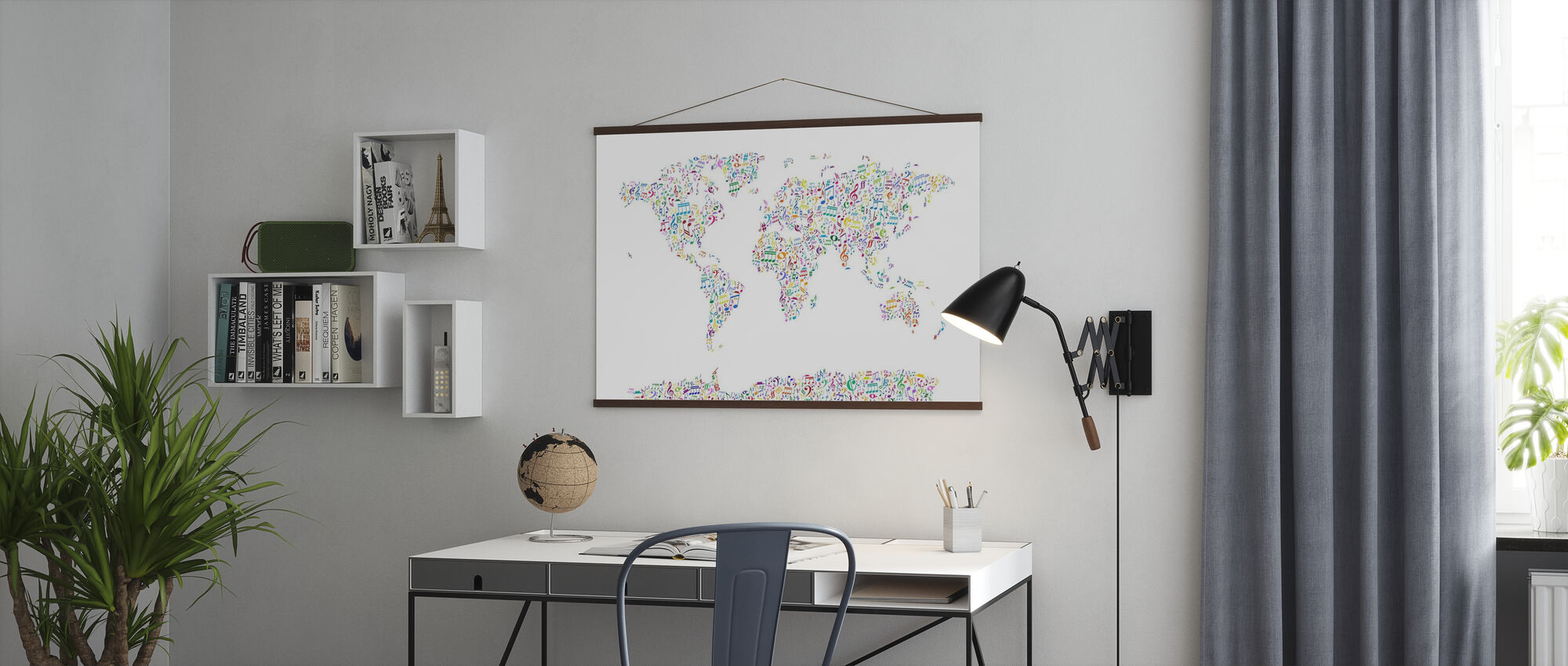Music Notes World Map Color - Poster - Office