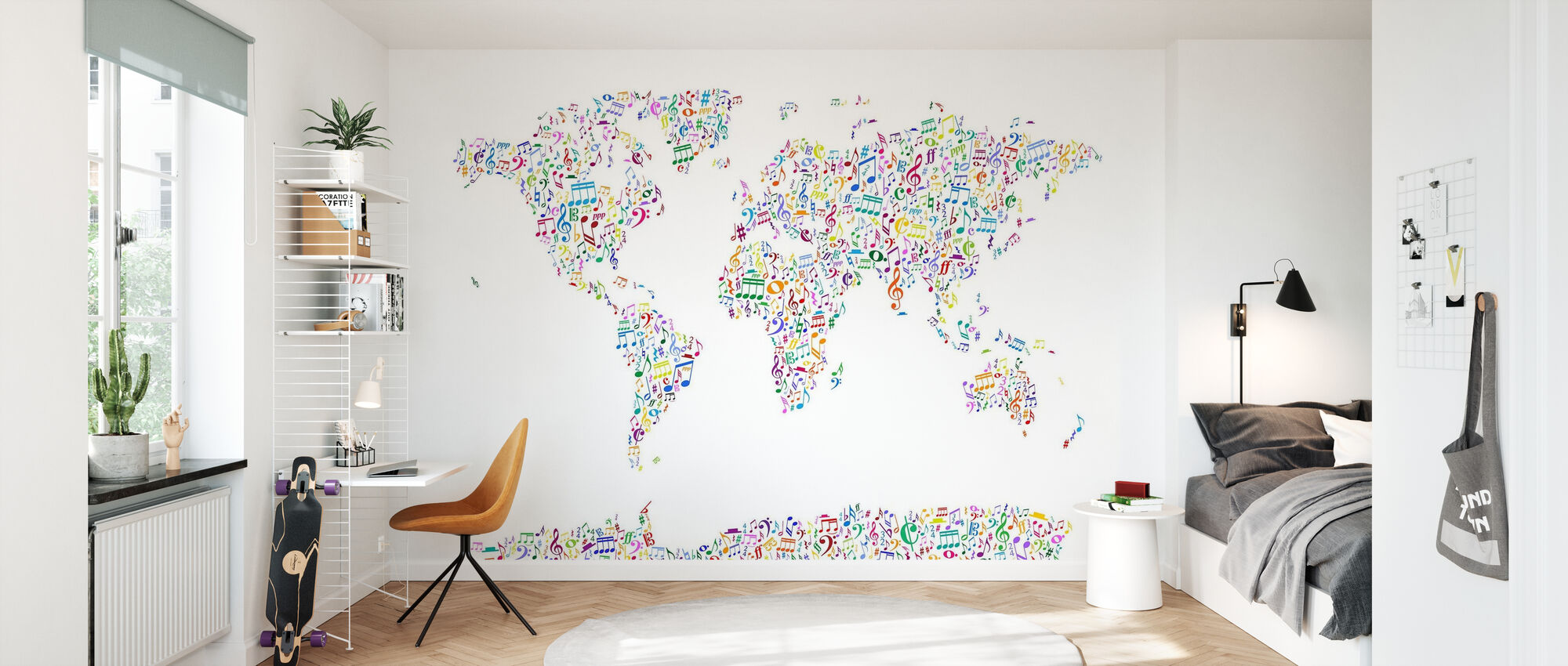 Music Notes World Map Color - Wallpaper - Kids Room