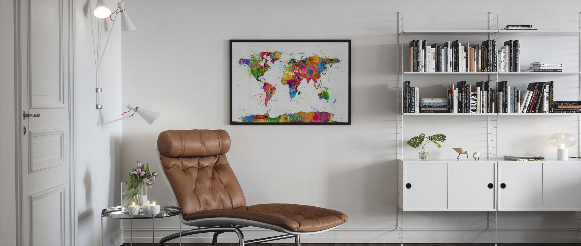 Paint Splashes Map 2 - Poster - Living Room