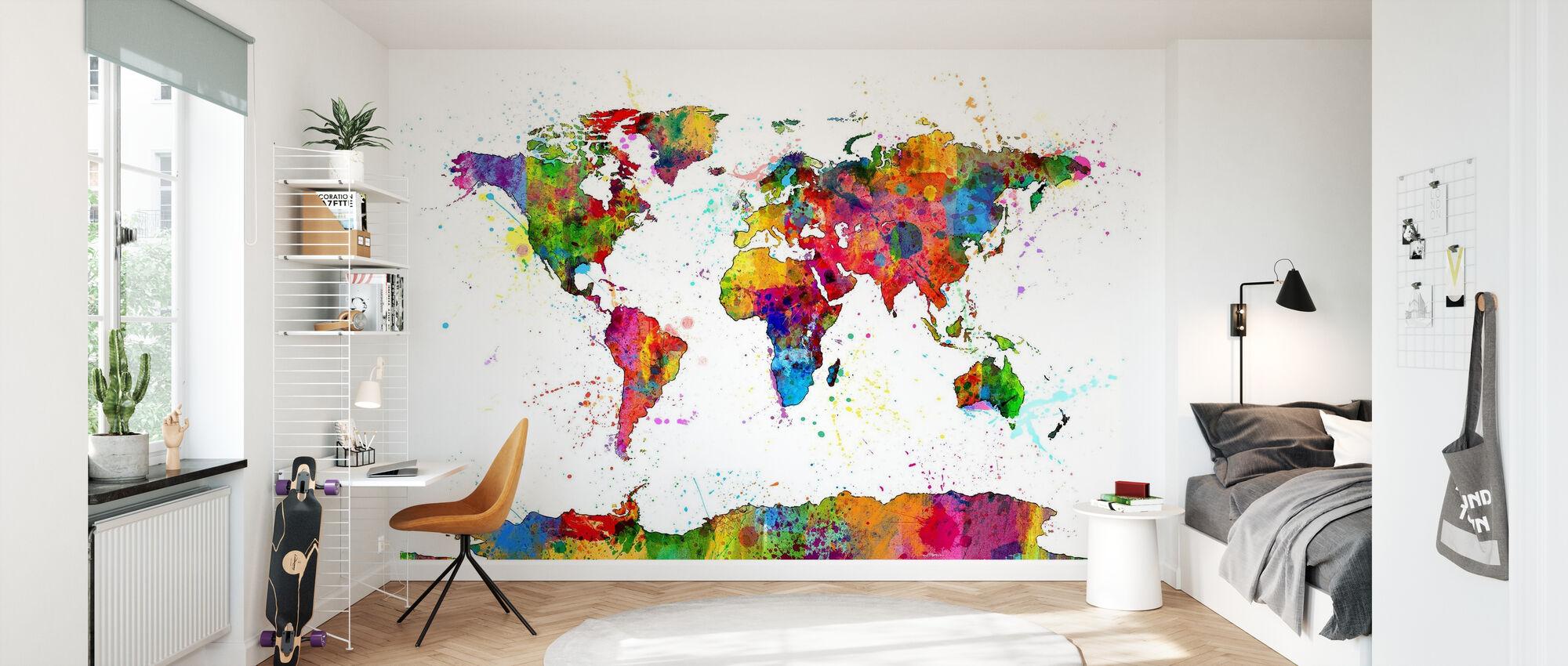 Paint Splashes Map 2 - Wallpaper - Kids Room