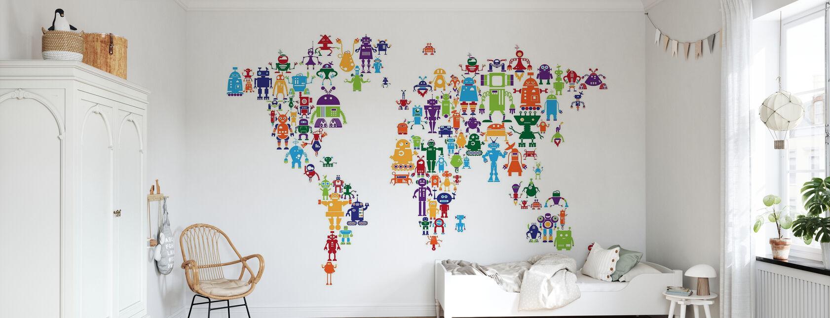 Robots Wereld Kaart - Behang - Kinderkamer