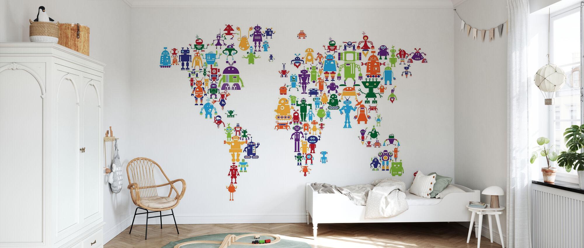 Robots Weltkarte - Tapete - Kinderzimmer