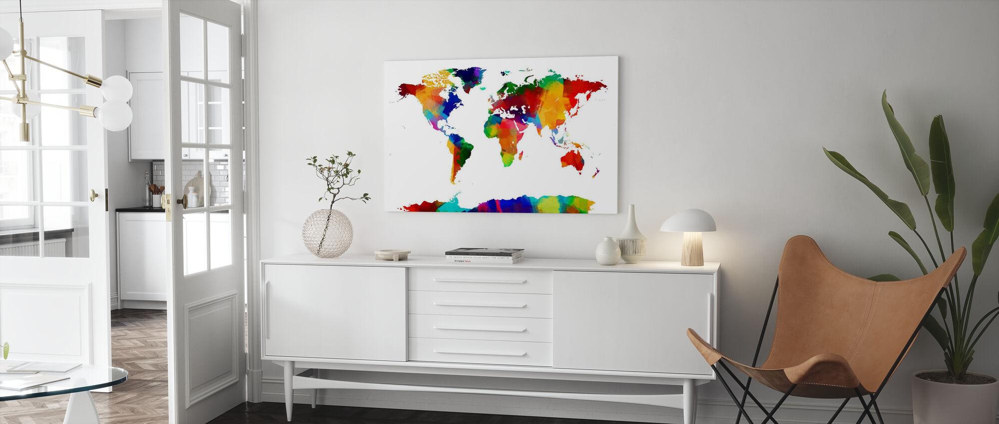 Sponge Paint Weltkarte - Leinwandbild - Wohnzimmer
