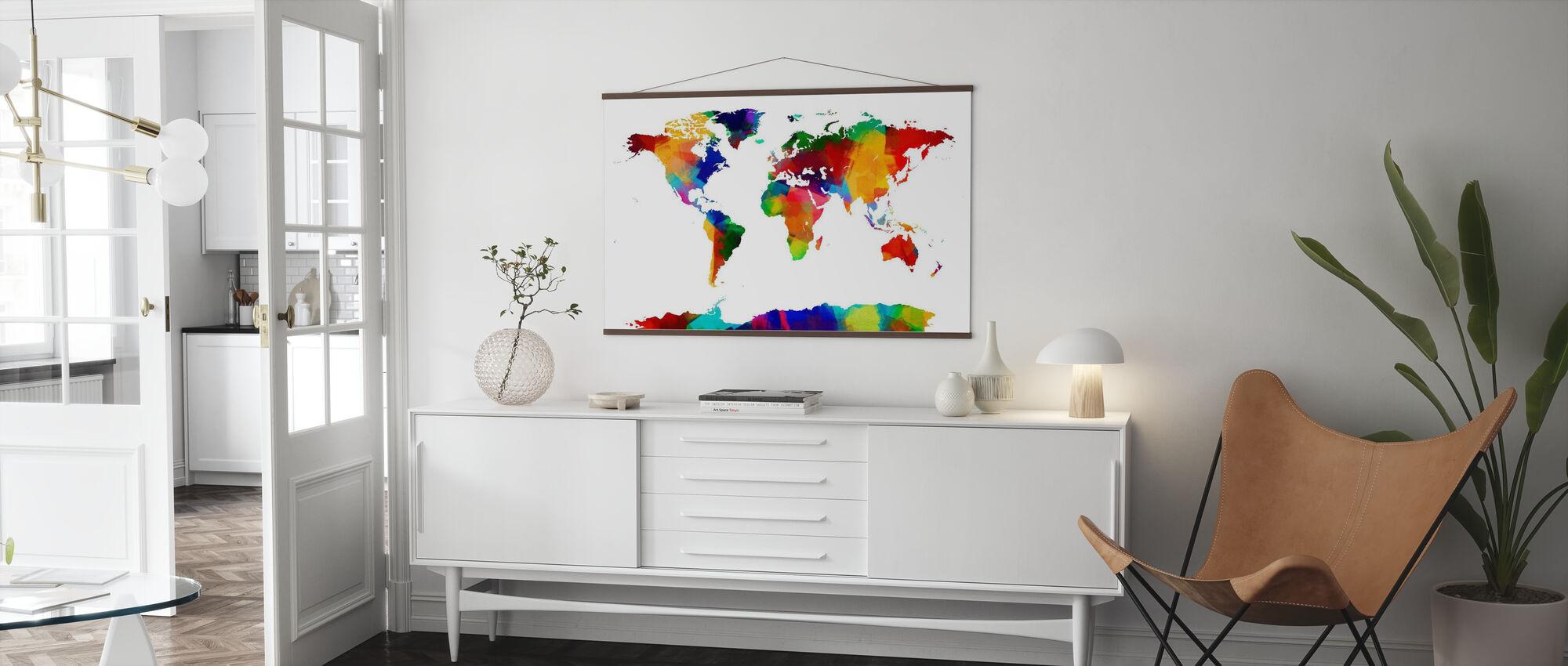 Sponge Paint World Map - Poster - Living Room
