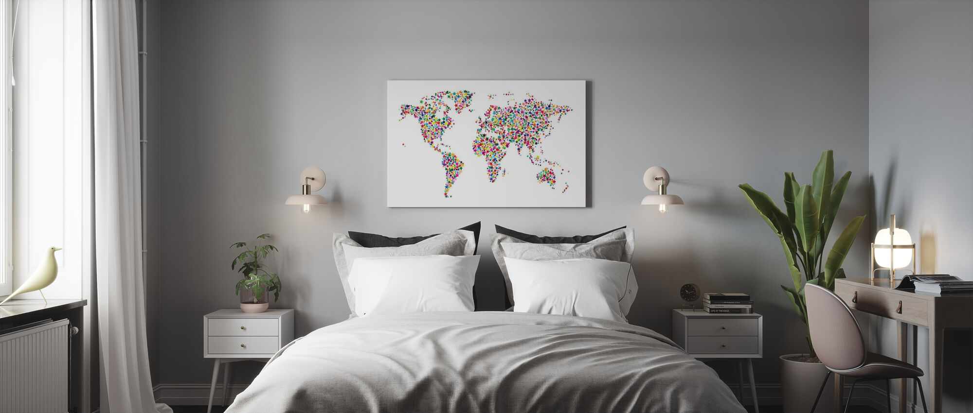 Stars World Map Color - Canvas print - Bedroom