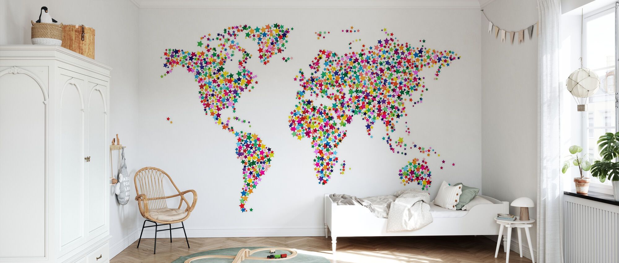 Stars World Map Color - Wallpaper - Kids Room