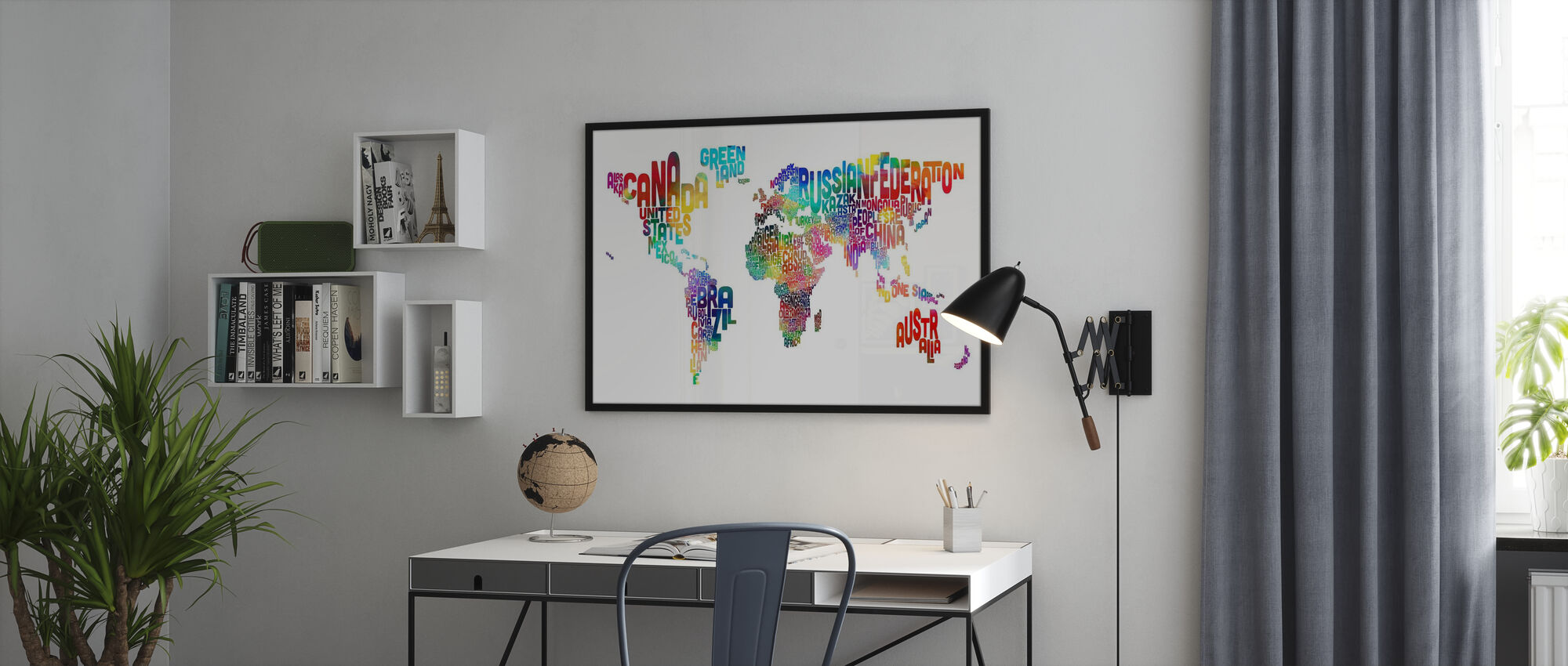 Typographic Text World Map 2 - Poster - Office