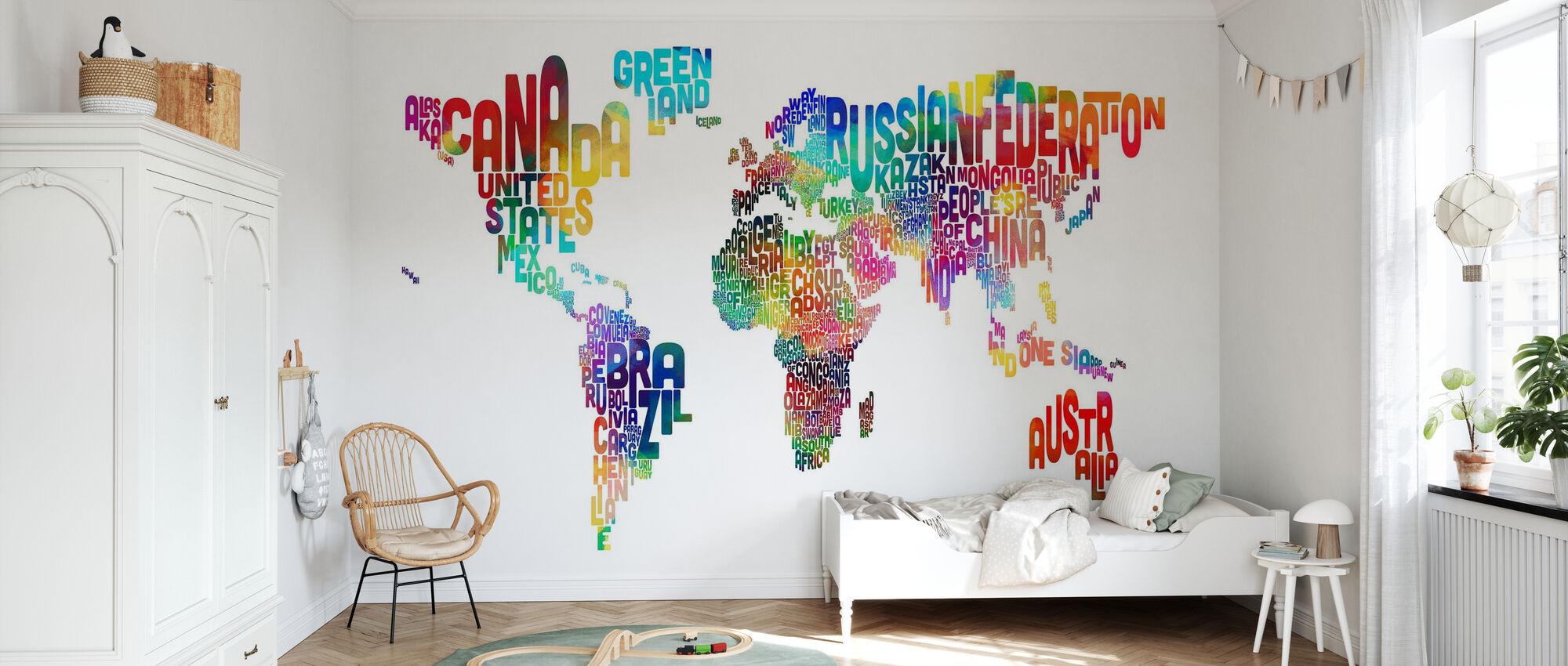 Typografische tekst Wereld Kaart 2 - Behang - Kinderkamer