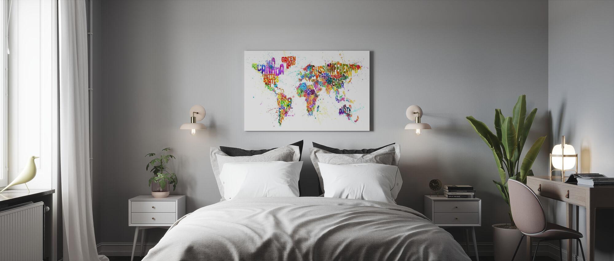 Typografisk text världen karta Paint Splash - Canvastavla - Sovrum