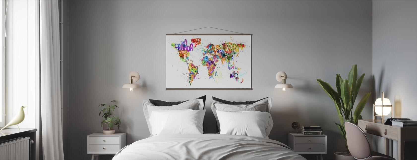 Typographic Text World Map Paint Splash - Poster - Bedroom