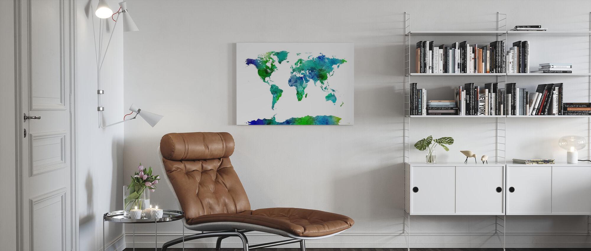 Akvarell världskarta Blå & Grön - Canvastavla - Vardagsrum